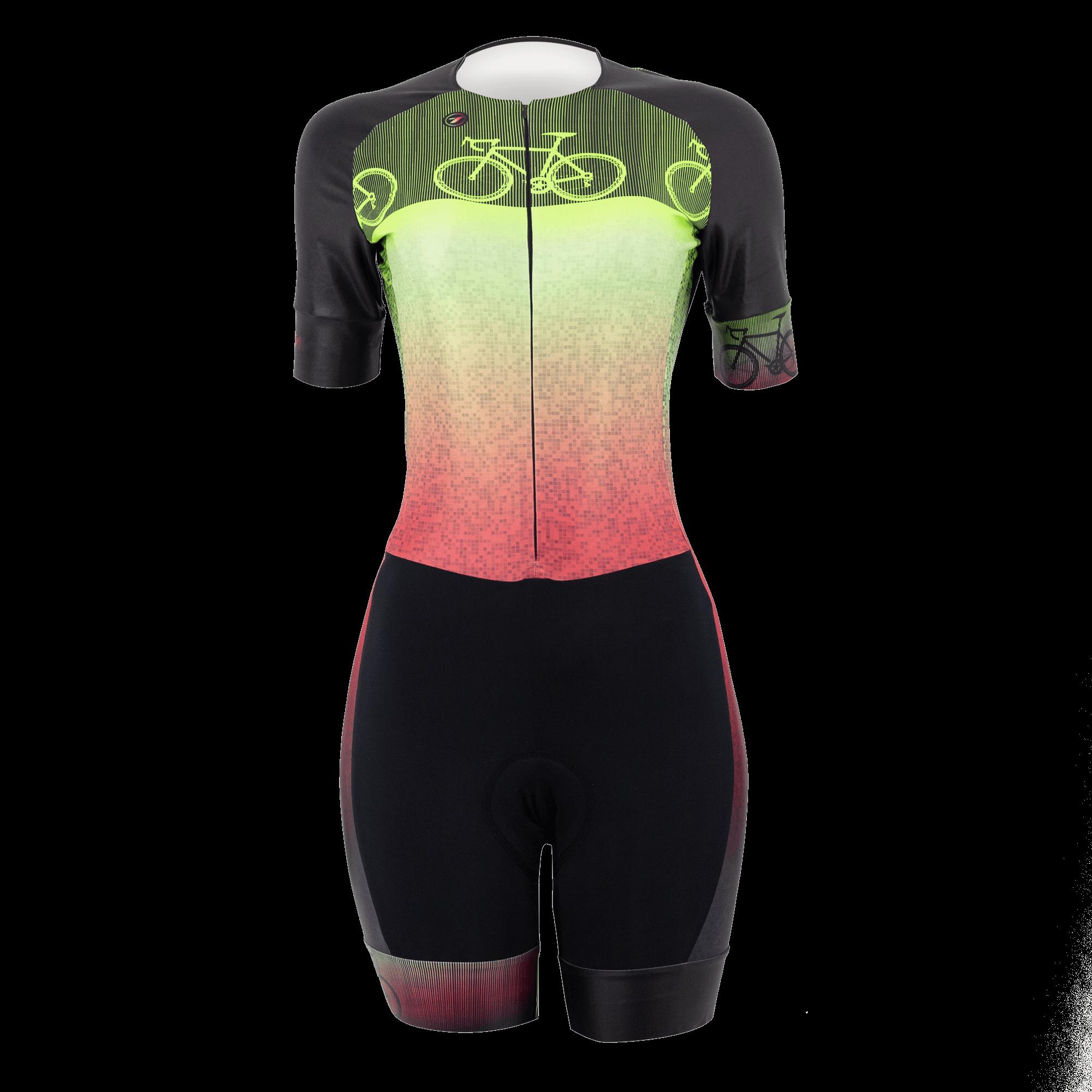 Macaquinho Feminino TSW Bike - P, Verde, rosa e preto